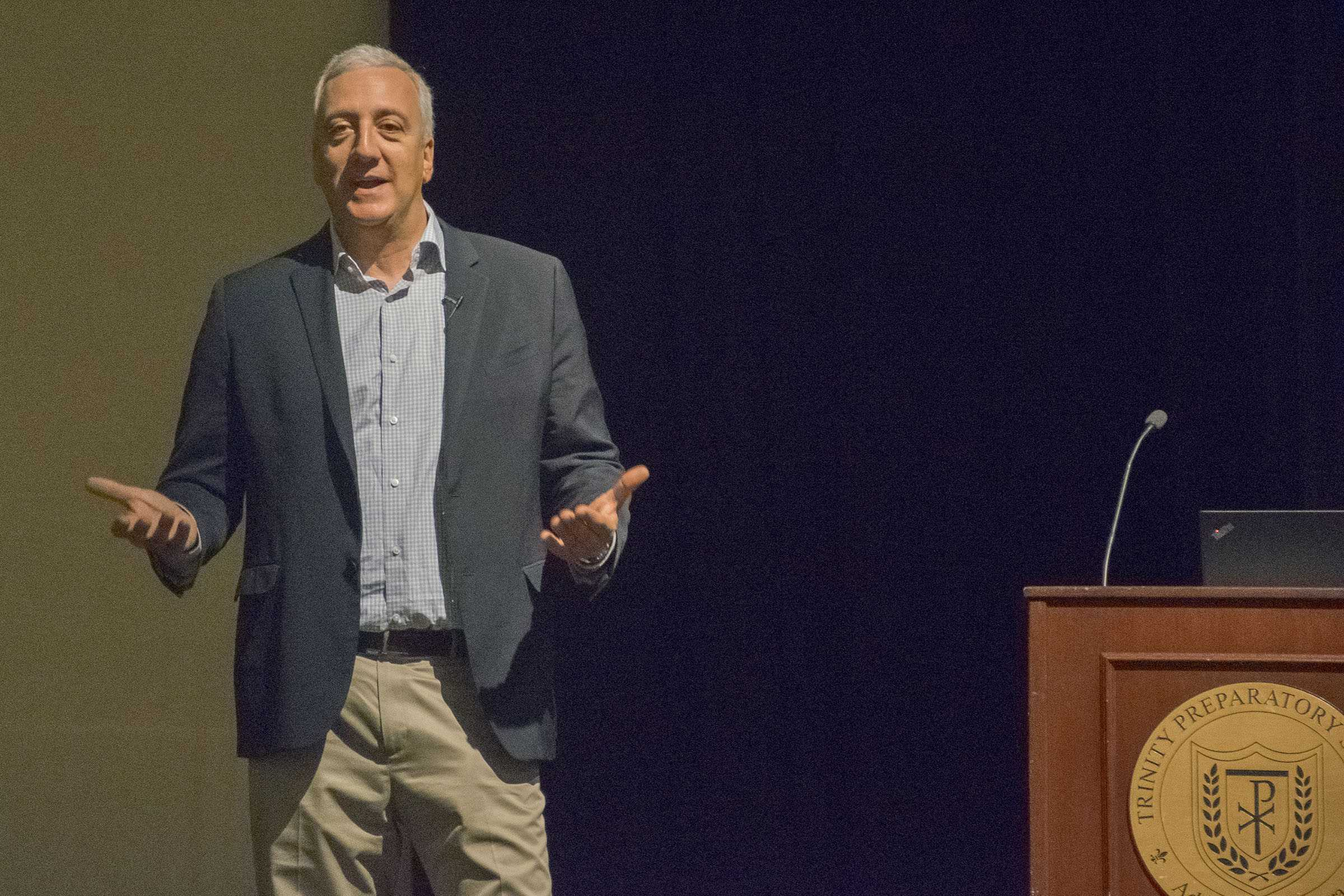 Massimino delivers an inspiring speech to a school wide assembly.