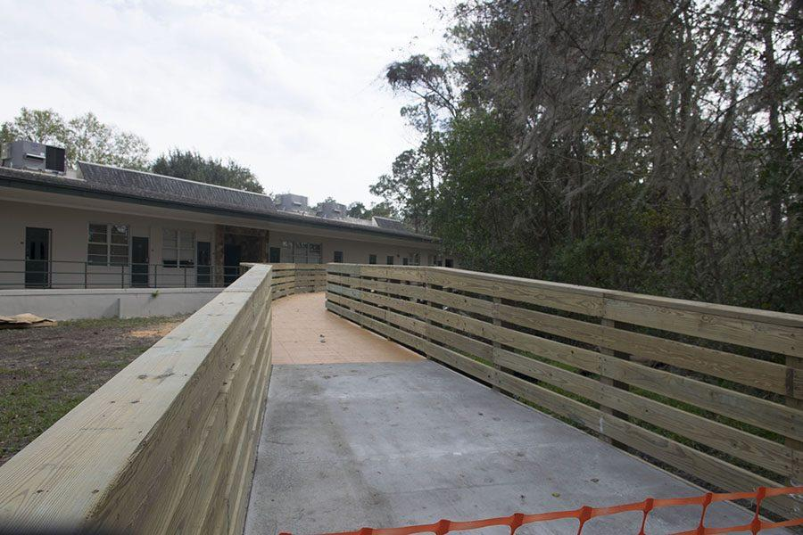 The bridge extends more than 411 feet, including the ramps, and contains 882 decking boards.