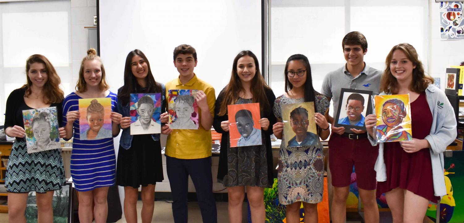 (Left to right) Ava Hickman, Grace Parker, Mandy Feenstra, Trent Bangle, Gianna Aceto, Thanh Van Pham, Jared Christopher and Carolyn Lightsey of the National Art Honor Society use their talents to create individual potraits of orphans from around the world.