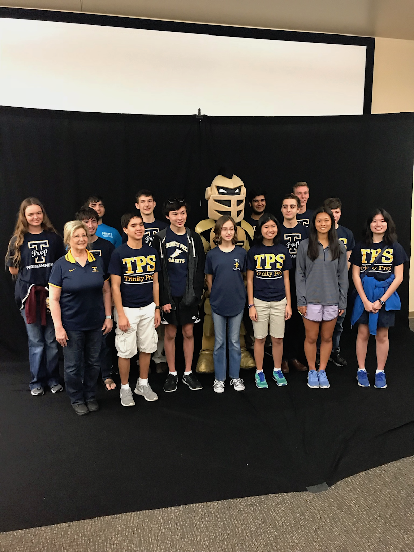 The Trinity Prep competitive computer programming team poses at the University of Central Florida tournament.