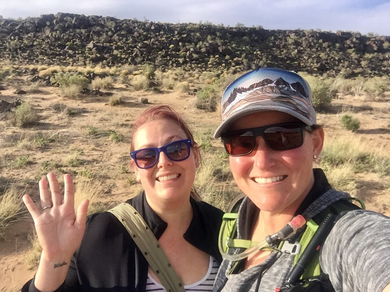 Stroup explores the Petroglyph National Monument in Albuquerque, New Mexico with a fellow Trinity alumna. She enjoys traveling and spending time with her friends.
