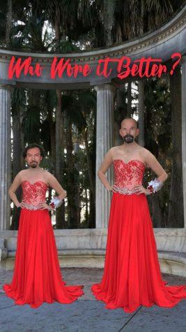 Math teacher Gene Dennis and Science teacher Michael Arney pictured in the same Lulus dress at Kraft Azalea Garden.