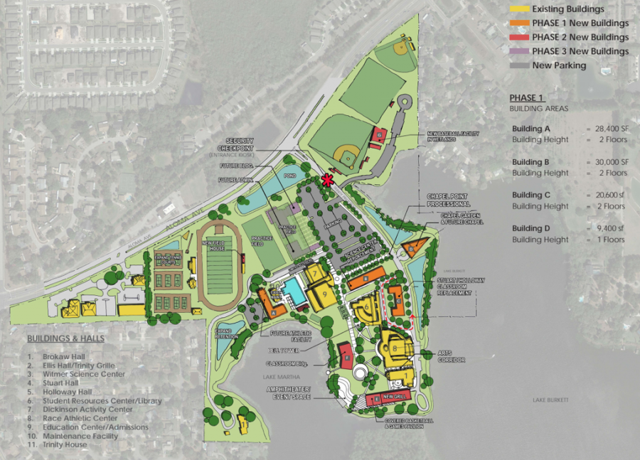 The 2070 Master Plan map is a tentative layout of all the facilities that Trinity's campus will have by the end of 2070. Construction for phase one is expected to last for 15 years.
