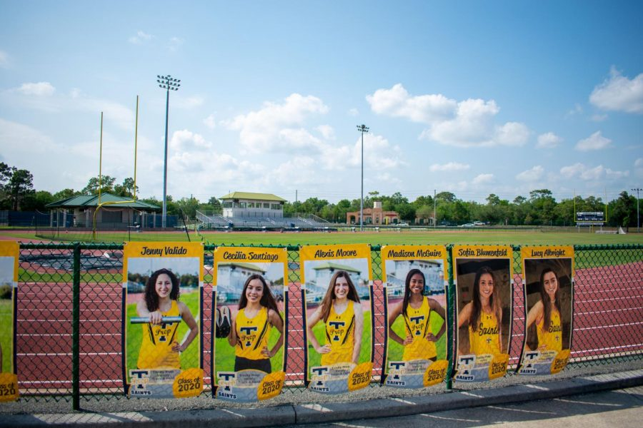 Senior banners sit on the empty Hubbard Field because the coronavirus has ended all spring sports seasons.