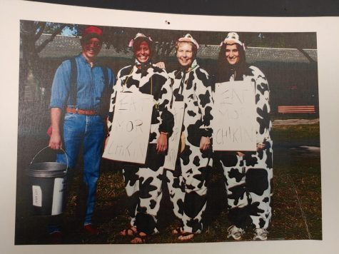 Jones (far left) dresses up as a farmer for Spirit week, with fellow teachers as the Chick-Fil-A cows.