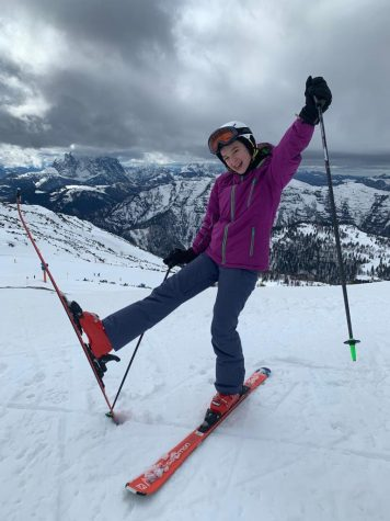Plate skis on the slopes of Austria during a vacation with her older sister, Smilla.