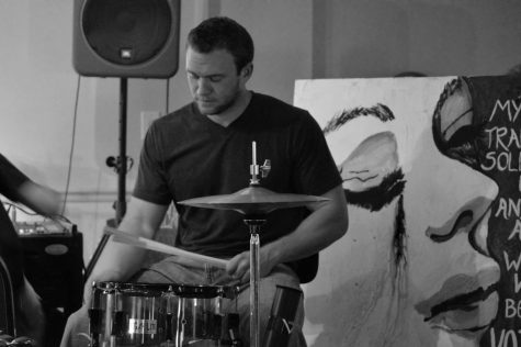 Reilly playing drums for his church.