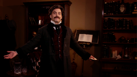"Actor Stephen Lane performs on the set of the Orlando Shake's ""Poe: Deep Into that Darkness Peering."" The actor recorded the play in short takes, with the help of family."