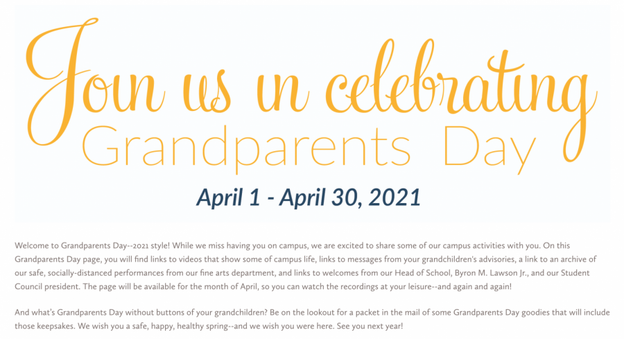This is a screenshot of the website that was released on April 1 for Grandparents Day. The website will be up for the month of April.
