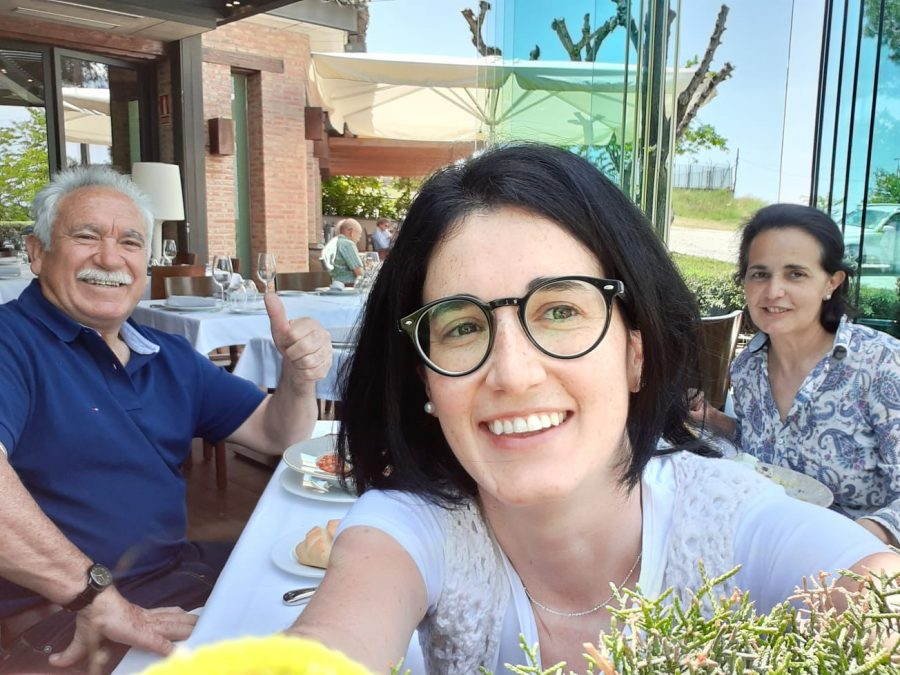 Lozano-Diaz enjoys dinner with her family while in Spain.